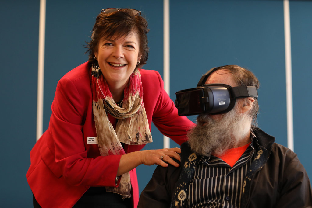 VIRTUAL BUCKET LIST: Uniting's Tracey Burton with resident James Hadley.
