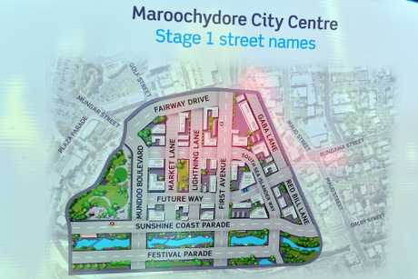 A map shows where new streets will be in the Maroochydore CBD development.