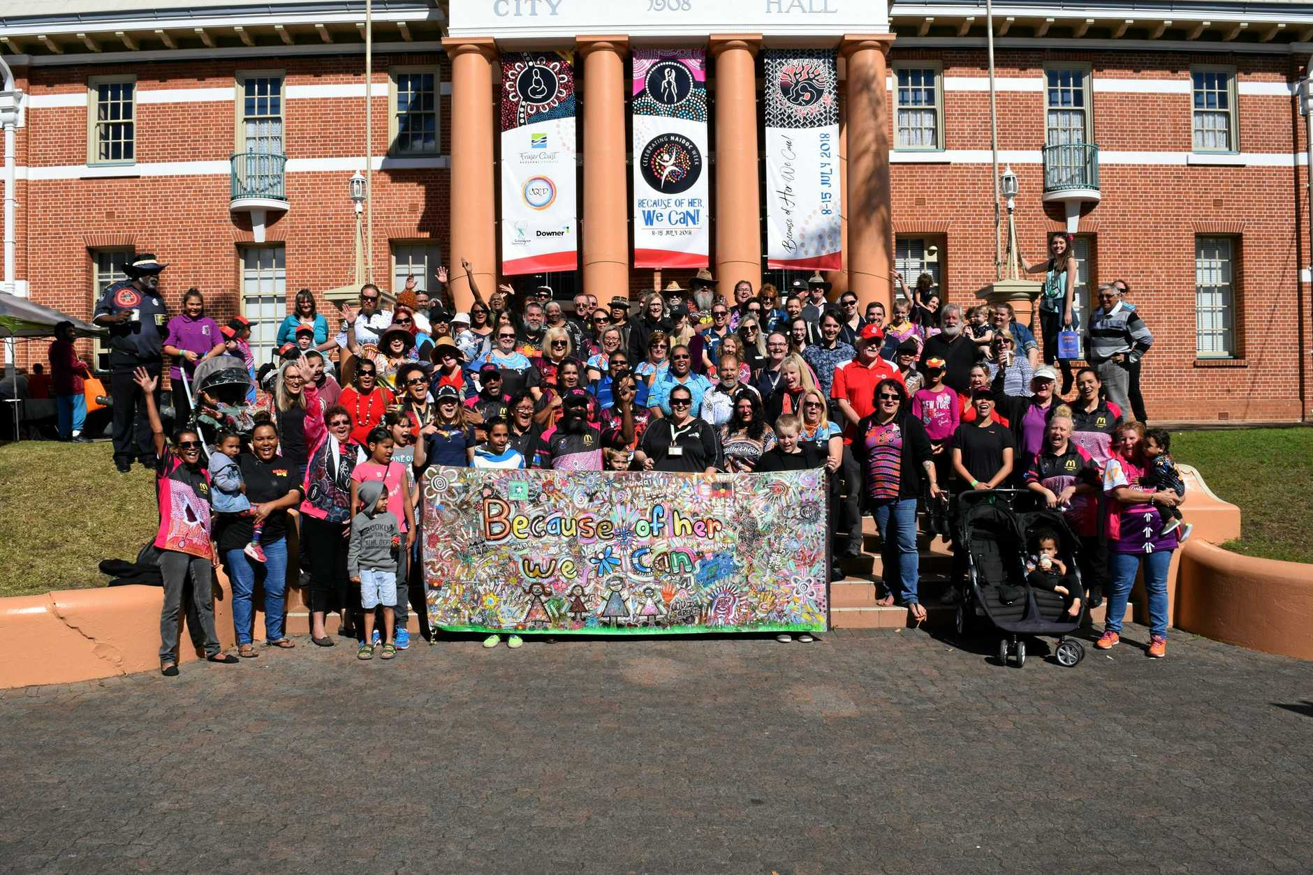 Everyone was invited to be part of an annual tradition of the Naidoc Week celebrations photo in front of the Maryborough City Hall.