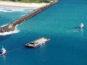 PHOTOS: Huge crane barge crosses Ballina bar