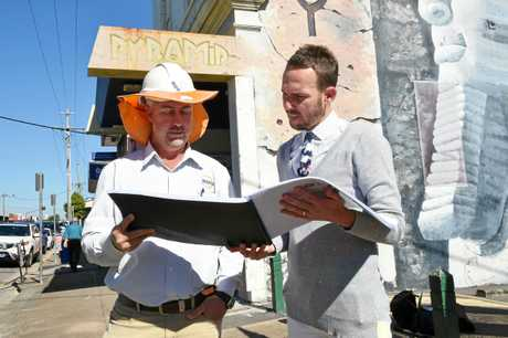 CBD REVAMP: Project manager at SGQ Civil Constructions Rod Hartland and Fraser Coast councillor Daniel Sanderson review project plans for the Maryborough CBD Revitalisation. The next stage of works will start on Sunday.