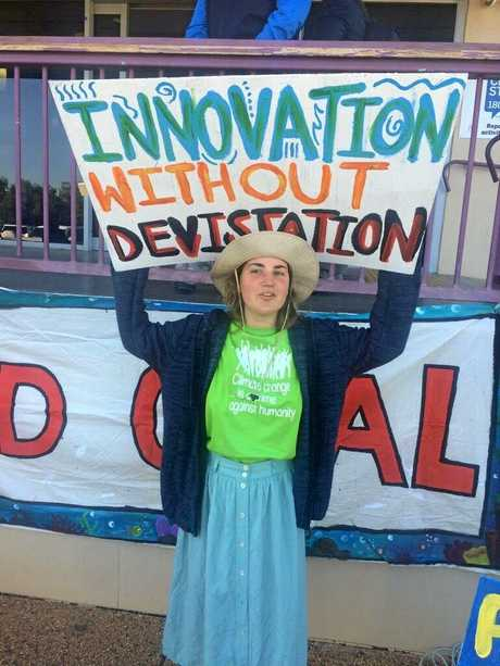 Protesters from Frontline Action on Coal disrupted Adani Australia's chief executive Lucas Dow's speech at the Industry and Innovation Forum in Emerald, Queensland on Wednesday morning.