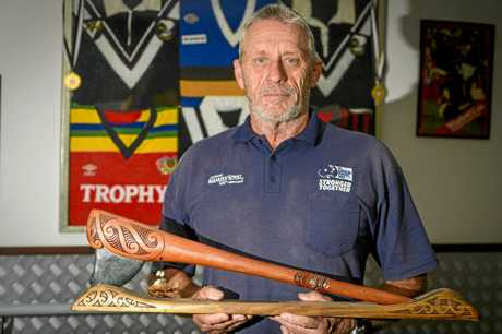 ICON: New Zealand Rugby League legend Mark Graham with the NZRL Player of the Century trophy he was awarded in 2007.