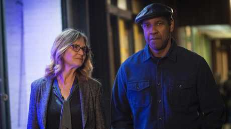 Robert McCall (played by DENZEL WASHINGTON) walks with Susan Plummer (MELISSA LEO), with whom he shares a secret past, in a scene from Columbia Pictures' film The EQUALIZER 2.