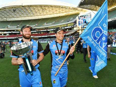 Michael Neser and Alex Carey of the Adelaide Strikers celebrate winning last year's Big Bash. Picture: AAP