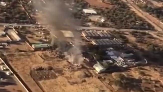 Aerial footage of the crash site showed the building cut in half.