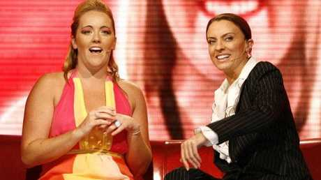 Kate with Big Brother host Gretel Killeen during her eviction at Dreamworld.