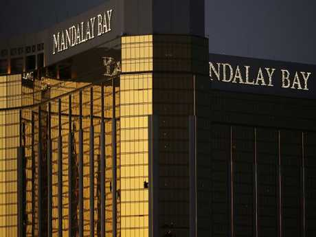 Windows are broken at the Mandalay Bay resort and casino in Las Vegas, the room from where Stephen Paddock fired on a nearby music festival, killed 58 and injuring hundreds on October 1, 2017. Picture: AP