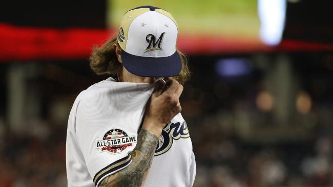 The Milwaukee Brewers' Josh Hader is in damage control. Picture: Patrick Smith/Getty Images