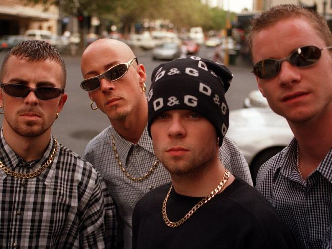 Brian Harvey (left) with East 17 members. Picture: Supplied