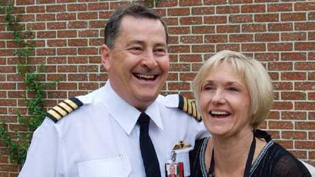Retired Qantas pilot Ross Kelly with wife Lyndal, who was on board.