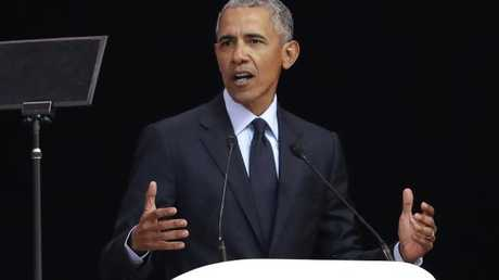 Mr Obama delivers his speech at the 16th Annual Nelson Mandela Lecture at the Wanderers Stadium in Johannesburg, South Africa. Picture: AP Photo/Themba Hadebe