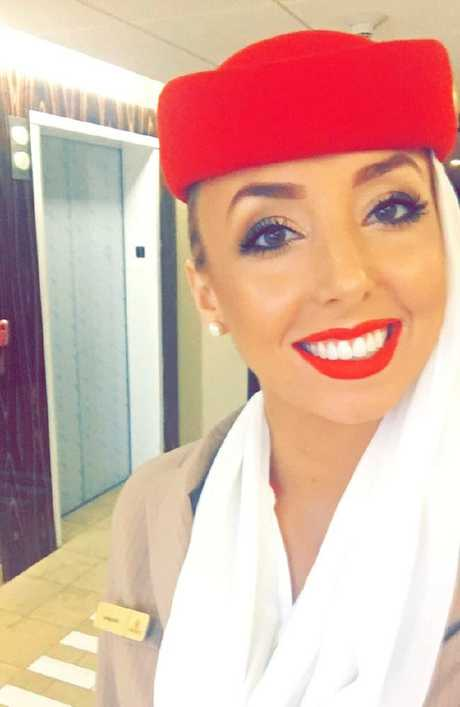 Alexandra is never without the famous Emirates red lipstick.