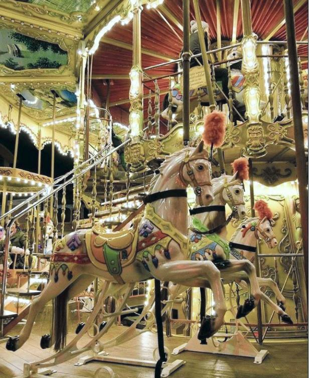 POPULAR ATTRACTION: There were long queues to the carousel during the River Festival.