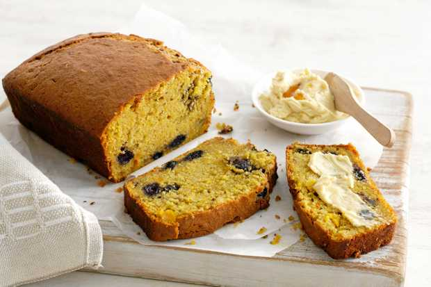 Pumpkin and blueberry bread with maple syrup butter.