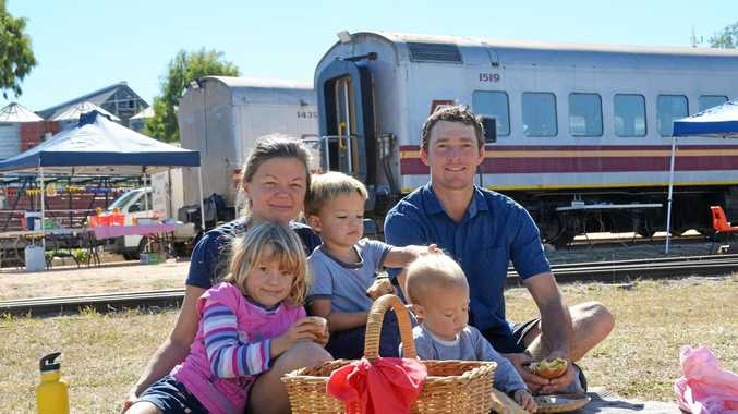 OLD-FASHIONED FAMILY FUN: The Dent family enjoying the Gayndah Heritage Railway Picnic during Heartland Festival.