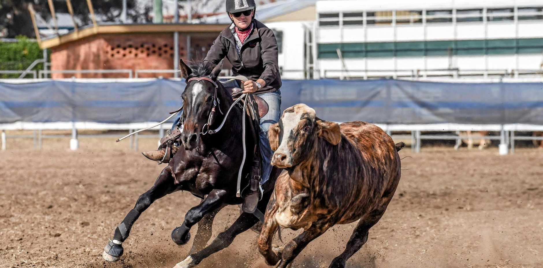 EYES ON PRIZE: Aimee Olive, pictured on Booralite Miss Ellie, has a demanding schedule at the four-day Paradise Lagoons Campdraft which starts today.