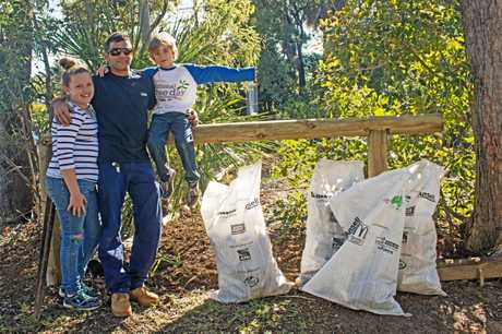At the regular Fig Tree Creek Landcare work session Jack Michaels of Byfield, brought his children Mia & Brae along and they helped collecting rubbish around the site, and dad also helped with some mulching.