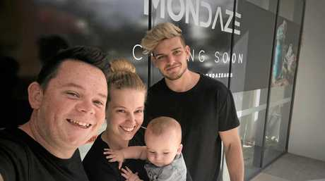 Mondaze owners Jae and Bec Martin with baby Carter and new business partner Chris Parsons.