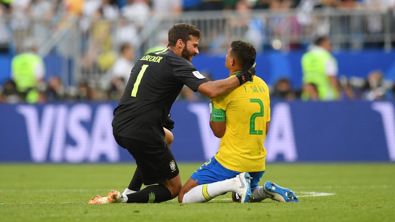 Alisson and Thiago Silva of Brazil.