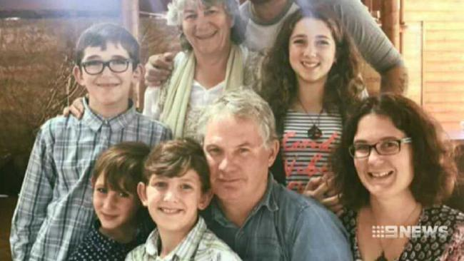 Peter Miles (centre) with his wife Cynda Miles (back), their daughter Katrina Miles (right) and her four children. Peter is believed to have shot his wife, his daughter and his daughter's four children in a murder-suicide in Osmington on Friday, May 11, 2018. Picture: Nine News