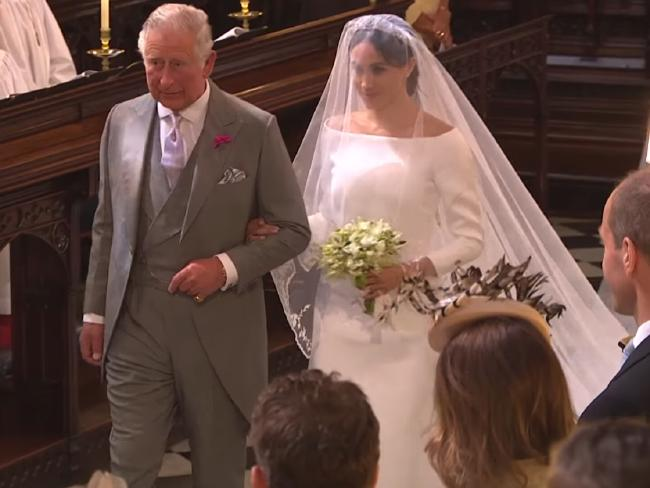 Britain's Prince Charles walked Meghan Markle down the aisle. Picture: BBC