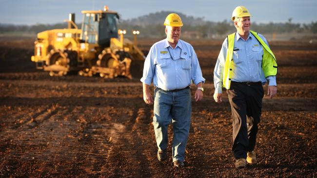 John and Denis Wagner prior to the runway construction of their Wellcamp Brisbane West Airport