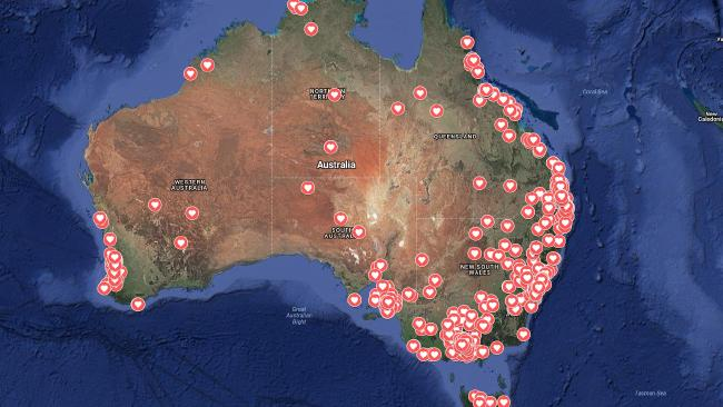 The 'femicide' map by the Red Heart Campaign.