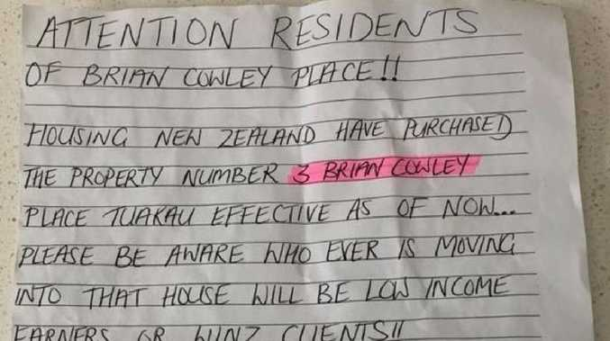 An anonymous note warns residents of 'low income' neighbours. Source: stuff.co.nz