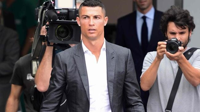 Portuguese footballer Cristiano Ronaldo arrives on July 16 at the Juventus medical centre at the Alliance stadium in Turin. Picture: Miguel Medina