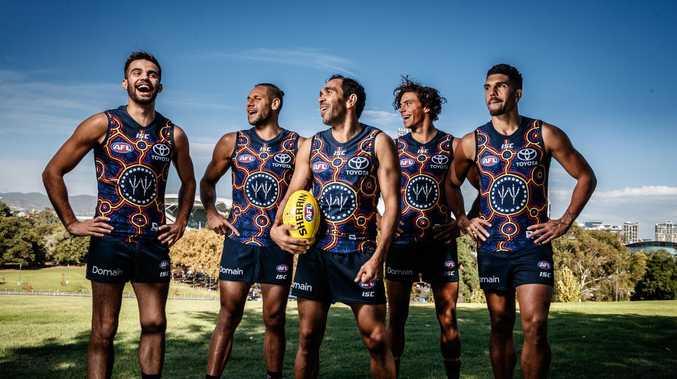 Indigenous Crows players Wayne Milera, Cam Ellis-Yolmen, Eddie Betts, Ben Davis and Curtly Hampton wearing the Crows 2018 Indigenous guernsey. Picture: MATT TURNER.