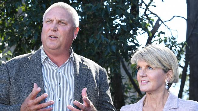 Liberal Candidate for Longman Trevor Ruthenberg with Minister for Foreign Affairs Julie Bishop. (Pic: Dave Hunt)