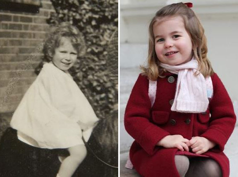 Queen Elizabeth II as a young girl and Princess Charlotte on her third birthday