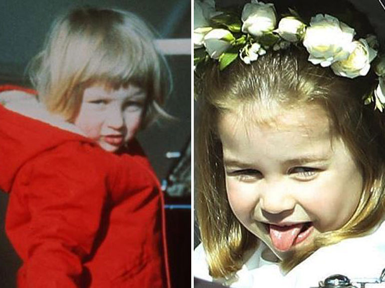 Diana as a toddler with Charlotte at Harry and Meghan's wedding.