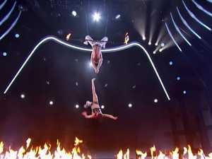 Trapeze stunt goes horribly wrong.