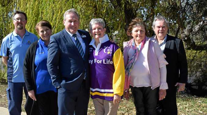UNITED FRONT: Keith Wilson from Apex, Julianne Shipway from the Lions Club, Paul McVeigh, Barb Handley, Denise Jeitz from Zonta and Glen Hay from Rotary are supporting the Cancer Council's Relay for Life this year.