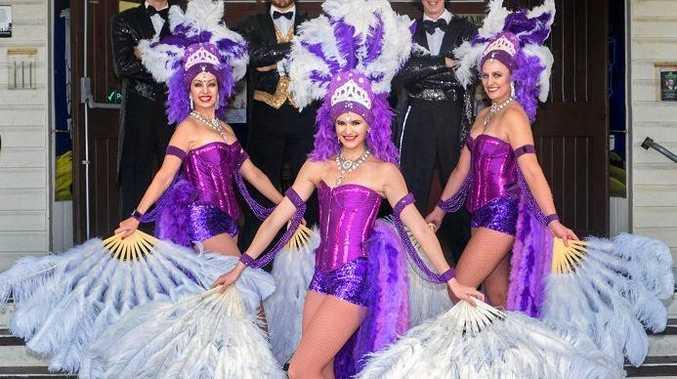 A VAUDEVILLE AFFAIR: Vaudeville feathered girls front Pomona's Majestic Theatre.