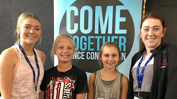 DANCE STARS: Emma Celledoni, Macie Allen, Gracie Mack and Brianna Celledoni at a convention on the Gold Coast over the weekend.