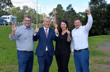FIGHTING FOR THE GYMPIE REGION: Keith Pitt, Deputy PM Michael McCormack, Shelley Strachan and Llew O'Brien celebrate $800 million funding for Section D.