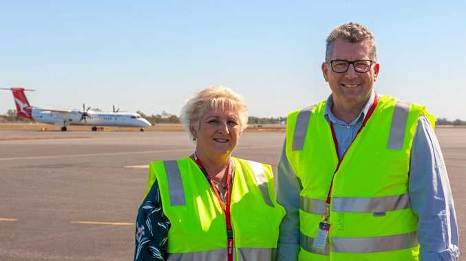 CQ INFRASTRUCTURE : Capricornia MP Michelle Landry and Minister Assisting the Deputy Prime Minister Keith Pitt inspect works at Rockhampton Airport.