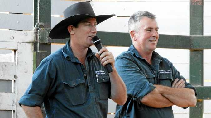 ROLLING COMMENTARY: Ringmasters Barry McIntyre (left) and Mick Senini keep the comments flowing at the Gympie Carcass Classic weigh-in.