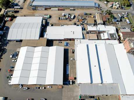 An aerial of the new roofs at the Grafton Industrial Estate.