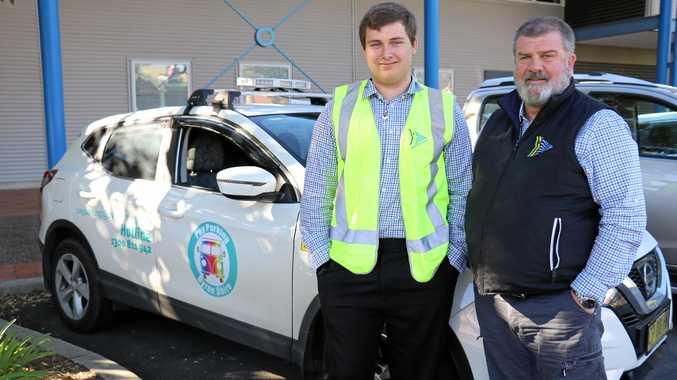 Byron Shire Council's trainee enforcement officer Leon Dawes with parking enforcement supervisor Tony Lucas.