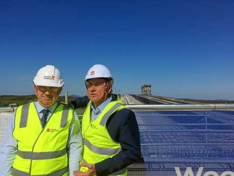 MAJOR MILESTONE: Federal Member for Page Kevin Hogan and State Member for Clarence Chris Gulaptis admire the view from the new Harwood Bridge. INSET: Harwood Hotel publican Mike Smith with Alan 'Sticks' Brasen who worked for the contractor on the old Harwood Bridge construction.