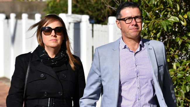 Ipswich City Council's suspended Mayor Andrew Antoniolli with his wife Karina. Picture: AAP/Darren England