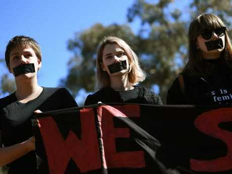 Students of the Australian National University participate in a protest after the release of the national student survey last year. Picture: AAP