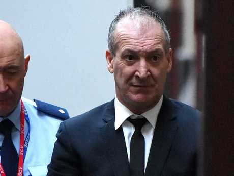 Angelo Russo arrives in the prison van at the Mebourne Supreme Court. Picture: Nicole Garmston