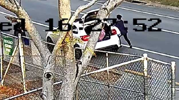 The moment of a shocking carjacking at Arundel. Photo: Queensland Police