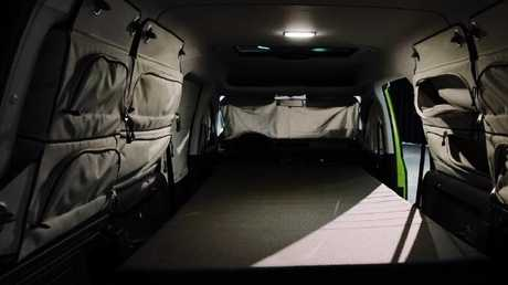 Dream time: The campervan has a fold-out double bed.