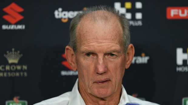 Coach of the Broncos Wayne Bennett is seen during the Round 14 NRL match between the Melbourne Storm and the Brisbane Broncos.. (AAP Image/Julian Smith)